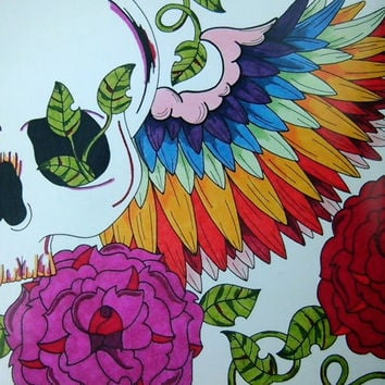 8x10 Print Skull with Colorful Rainbow Wings and Roses  Original Colorful Art Alternative Gift Idea Roses Vines Leaves