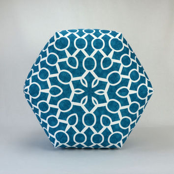 "20"" Wide By 15"" Tall Floor Ottoman Pouf Pillow Aquarius Blue & White Slub - Sydney Contemporary Modern Print"