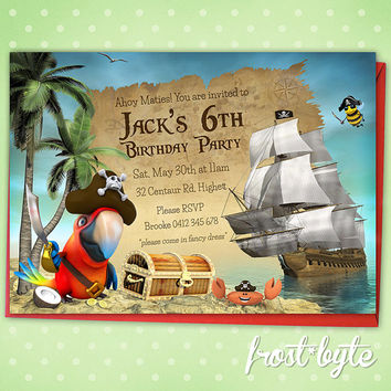 Pirate Birthday Party Invitation - customised with your details - digital file to download - kids party invite - parrot crab ship unisex