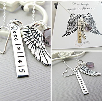 Personalized Angel Wing Necklace, Custom Name, Sterling Silver Monogram, Silver Necklace, Wing Charm, Memory Necklace