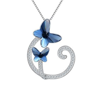 "925 Sterling Silver CZ ""Butterfly Lover"" Vine Made with Swarovski Crystals Pendant Necklace"