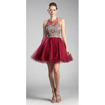 Appliqued Bodice Halter Homecoming Dress Burgundy-Gold
