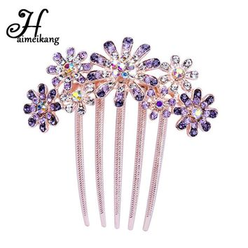 Haimeikang Luxury 5 Teeth Rhinestone Pearl Sunflower Hair Comb Bridal Wedding Hair Accessories Women Crown Hairpin Headwear