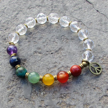chakra, genuine chakra gemstones and crystal bead mala bracelet