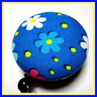 Badge Reel for Id Handmade Fabric Button Clip Retract Blue Yellow