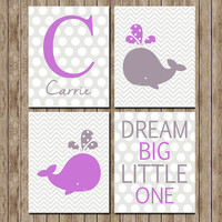 Digital Download Whale Purple Chevron Nursery Art Print Wall Art Nursery Wall Decor Nursery Printable Digital Art Baby 8x10 Print Set