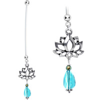 Handcrafted Lotus Pregnancy Belly Ring Created with Swarovski Crystals