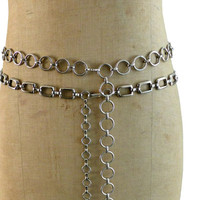 Vintage ladies silver chrome square and round chain link belts