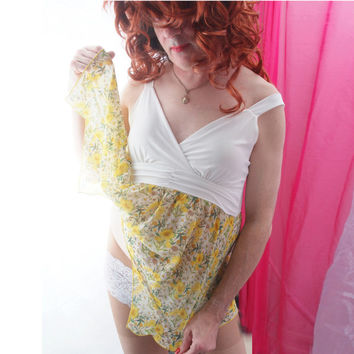 Crossdresser Sissy Sheer Mini Dress in Yellow Floral Pattern Size XL Drag Crossdress