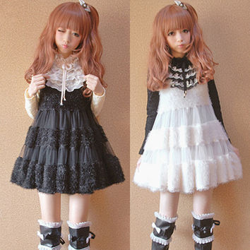 2016 Autumn&Winter dress Girls&Women Lolita dress white&black Lovely Moe Japanese Warm Velour Doll dress Sweet Princess Dress