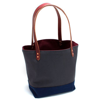 Grey Color-blocked Market Tote with Contrast Lining