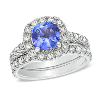 Certified Cushion-Cut Tanzanite  and 1-1/2 CT. T.W. Diamond Bridal Set in 14K White Gold - View All Rings - Zales