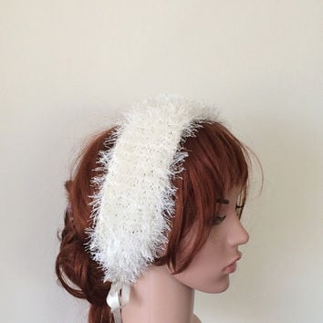 Fluffy Knitted Hair Wrap, Bridal Headband, Winter Wedding Hairband, Bridal Ivory Hairband, Bridesmaid Headpiece, Gift For Her, ReddApple,