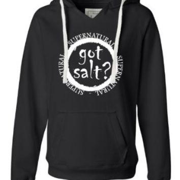 Small Black Womens Got Salt? Supernatural Deluxe Soft Hoodie