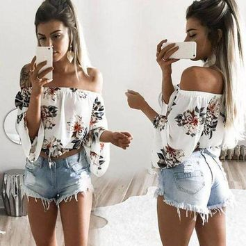 CREY9N Casual Flower Off Shoulder Pagoda Sleeve Tunic Shirt Top Blouse