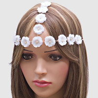Festival Boho Floral Head Chain Flower Crown Headband - White