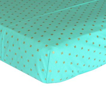 Fitted Crib Sheets | Metallic Gold Crosses on Aqua