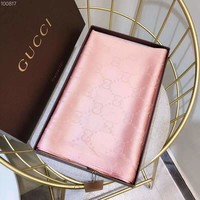 GUCCI 2018 autumn and winter new gold silk cotton classic wool jacquard shawl women's scarf pink