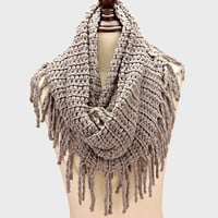 Snood Infinity Scarf Fringe Gray