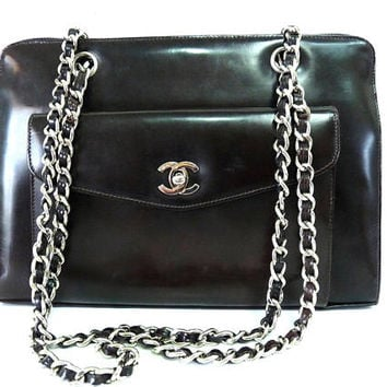 Vintage Chanel bag Dark Brown Leather CC Silver Double Chain Front pocket Shoulder purse