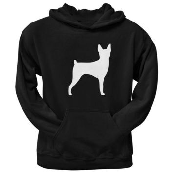 ONETOW Toy Fox Terrier Silhouette Black Adult Pullover Hoodie