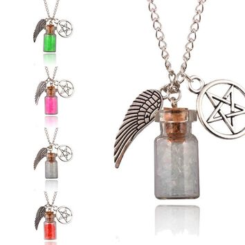 Hot Women Retro Handmade Angel Wing Pentagram Glass Wishing Bottle Pendant Supernatural Protection Chain Necklace 7 Styles