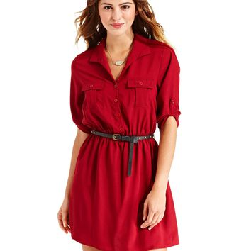 BeBop Juniors Dress, Three-Quarter Sleeve Belted Shirtdress - Juniors Dresses - Macy's
