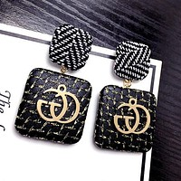 GUCCI Stylish Personality Design Exaggerated Stripe Square Button Letters New Eardrop Earrings Jewelry I12318-1