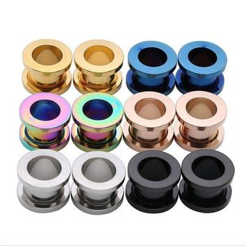 ac DCCKO2Q New Black Stainless Steel Ear Plugs Tunnels Flesh Expansions Piercing Ear Plugs Earring Gauges Ears Expanders Rings Body Jewelry