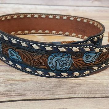 Vintage Tooled Leather Belt - Customisable - Blue Floral Design - Western Country Southwestern - Rose Pattern