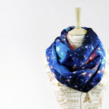 Galaxy Infinity Scarf Space Stars Blue Celestial Chunky