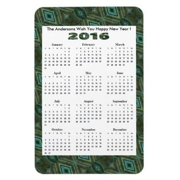 Elegant Dark Green Diamond 2016 yearly Calender Rectangular Photo Magnet