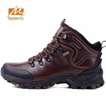 MERRTO Men's Outdoor Winter Hiking Trekking Boots Shoes Sneakers Footwear For Men Leather Climbing Mountain Snow Boots Shoes Man