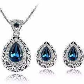 Vintage Filigree Teardrop Necklace and Earrings Set or Individual - Choose Your Color!