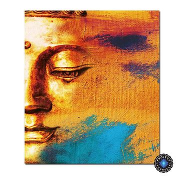 Modern Abstract Sunset Buddha Canvas Painting