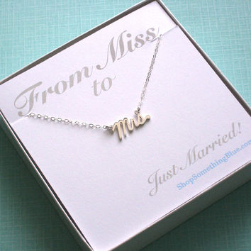 Mrs. Script Necklace, Sterling Silver, Cursive Mrs, Word Jewelry, New Bride, Bridal Shower Gift, Honeymoon, Sentiment Card