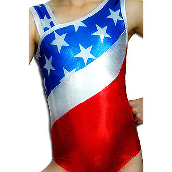 Gymnastics Leotard Girls Patriotic American Gymnast Star Mystique Leotards cxs cs cm cl axs as am al Toddler - Adult Sizes