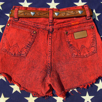 Wrangler Cut Off Jeans Sz SMALL, Vintage High Waisted Shorts, Cheeky Festival Shorts, Grunge Denim Cutoffs,  Red / Black Acid Wash  26 Waist