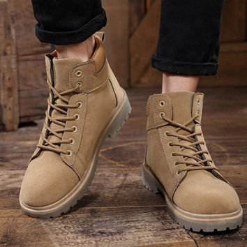 Winter Shoes Men Martin Boots Suede Leather Lace Up Ankle Boots Men Casual Shoes Autumn Winter Boots Men Shoe Work Safety Shoes
