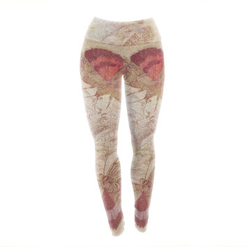 "Suzanne Carter ""Vintage Garden"" Butterfly Moth Yoga Leggings"