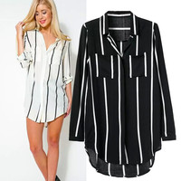 Women's Fashion Cotton Stripes Long Sleeve Slim Shirt [5013268420]