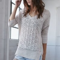 Me To We Stitch Interest V-Neck Pullover Sweater - Womens Sweater