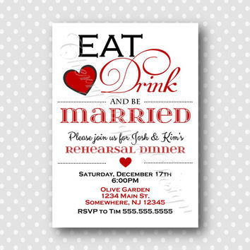 Eat, Drink and be Married Rehearsal Dinner Invitation.  Black and Red Invitation, Wedding PDF Invitation.