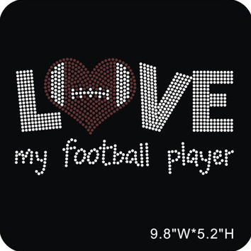 Love Football Mom Iron on Rhinestone - Hot Fix Bling - DIY Transfer with optional Free shirt Press