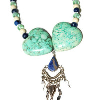 Vintage inspired cool colored necklace, Large Heart , Green and blue beaded necklace