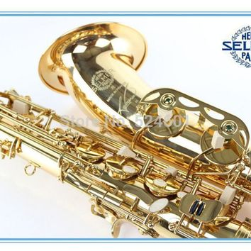 France Henri Tenor Saxophone Misical Instruments Reference 54 Electrophoresis Gold Brass Plated Bb Tenor Saxofone STS-54