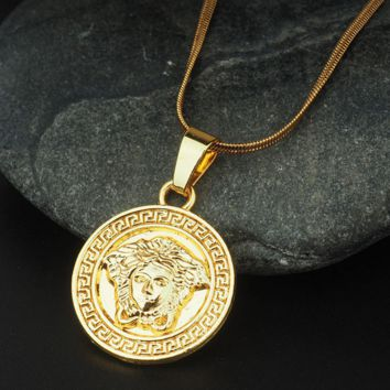 VERSACE Pendant Necklace Hip Hop Jewelry Gold