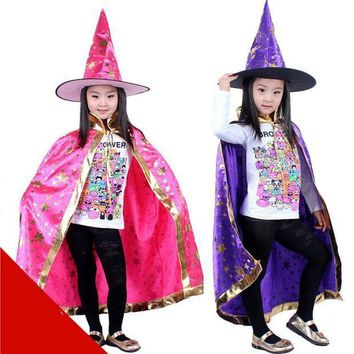 PEAPON 130G Halloween party accessories Boys and girls cloak Witch Wizard Cloak Gown Robe and Hat Cap Stars Fancy Cosplay for Children