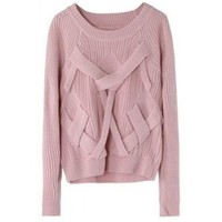 Pink Reglan Sleeve Cross Bandage Vertical Stripe Knitting Sweater