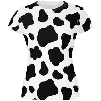 CREYCY8 Cow Pattern Costume All Over Juniors T-Shirt